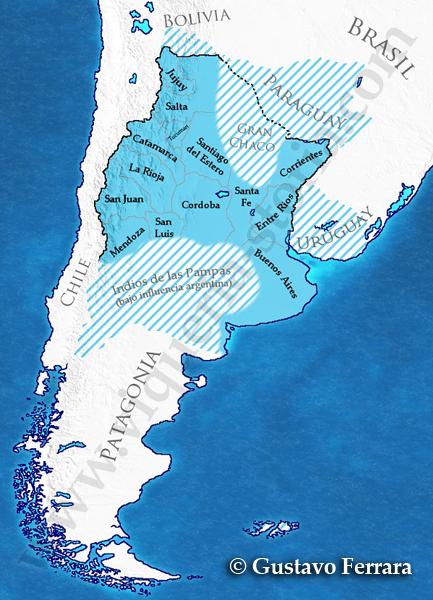 L'Argentina nel 1852 In azzurro, i territori controllati effettivamente dalle autorità rioplatensi. In azzurro tratteggiato, i territori reclamati da Rosas o sotto la sua influenza