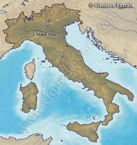 Collocazione del Monte Penice in Italia