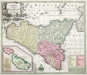 Carta settecentesca della Sicilia. Sono evidenziate le tre valli