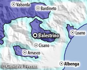 il feudo di Balestrino nell'ambito dei domini dei Savoia (blu scuro). I territori della Repubblica di Genova sono segnati con contorno azzurro