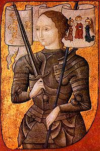 Miniatura del 1485 ca. raffigurante Giovanna D'Arco (Centre Historique des Archives Nationales, Parigi, AE II, 2490)