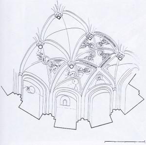 Figura 6: Veduta assonometrica con collocazione degli affreschi. Pubblicata da Peroni 1966.