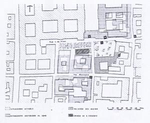 Zona di S.Eusebio. Planimetria comparativa tra la situazione attuale e quella anteriore alla demolizione