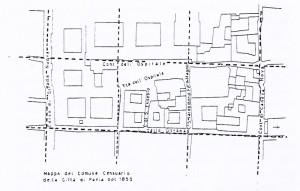 Figura 2: Mappa del 1855 in cui sono evidenziate le insula romane. Pubblicata da Peroni 1966