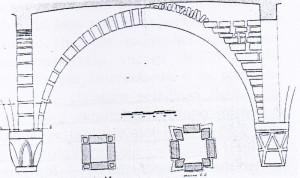Figura 5: stuttura dei sottarchi e della volta (rilievo dell'arch. Aschieri) pubblicata da Peroni 1966.