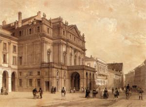 Il Teatro alla Scala di Milano in una stampa ottocentesca