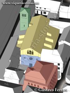 disegno assonometrico raffigurante le varie fasi costruttive della chiesa di San Giovanni Domnarum (verde:X-XI sec., blu: XV s., giallo: XVII s.) e l'intervento edilizio degli anni '50 (rosso)