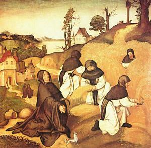 Monaci cistercensi a lavoro nei campi.