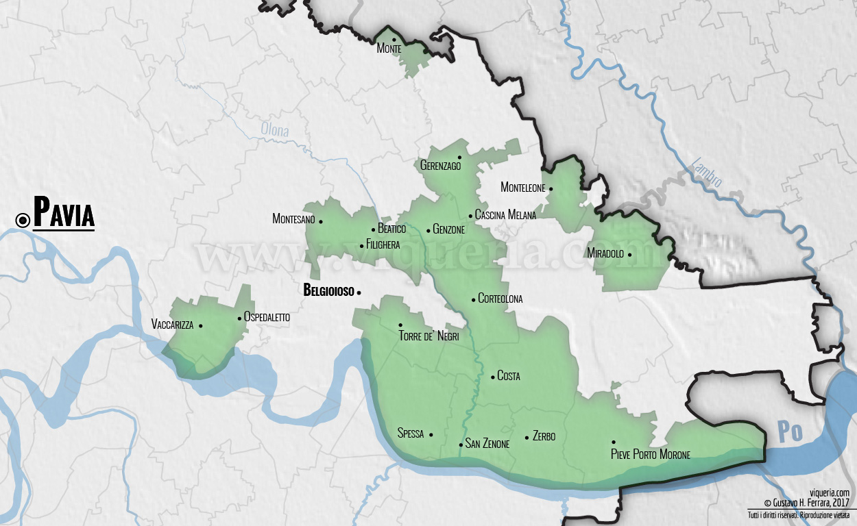 Il vicariato di Belgioioso nel 1474. Le linee trasparenti indicano gli attuali confini comunali, provinciali e regionali