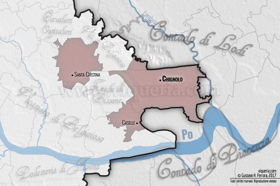 Il vicariato di Chignolo nel 1474. La linea nera indica il confine della contea (poi principato) di Pavia. I testi trasparenti indicano circoscrizioni territoriali e feudi all'interno della suddetta contea; fuori dai confini della contea sono indicati i contadi confinanti. Le linee trasparenti indicano gli attuali confini comunali, provinciali e regionali.